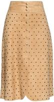 Lanvin Stud-embellished suede skirt