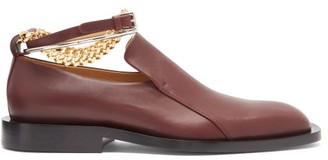 Jil Sander Anklet-chain Leather Loafers - Burgundy
