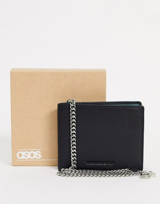 Asos Design DESIGN leather wallet in black with chain detail and contrast internal
