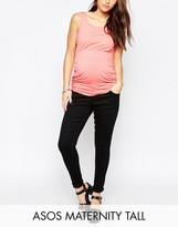 Asos Tall Ridley Skinny Jean In Clean Black With Over The Bump Waistband