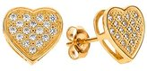 FreshTrends Large Cubic Zirconia Paved Heart 14k Yellow Gold Stud Earrings