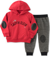 Calvin Klein 2-Pc. Faux-Leather-Detail Hoodie & Jogger Pants Set, Baby Boys (0-24 months)