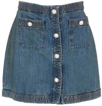 Miu Miu Pearl Embellished Denim Mini Skirt