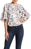 Melrose and Market Ruffle Sleeve Floral Poplin Top (Petite)