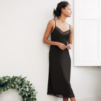 The White Company Geometric Lace Trim Maxi Nightie, Black, Medium