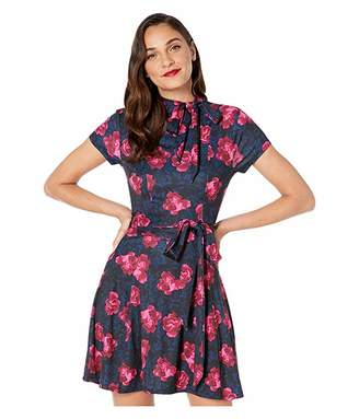 Unique Vintage 1960s Style Floral Print Bancroft Fit-and-Flare Dress (Navy/Pink) Women's Dress