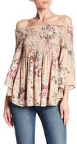 Angie Smocked Off-the-Shoulder Floral Top