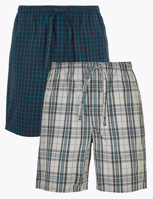 Marks and Spencer 2 Pack Cotton Checked Pyjama Shorts