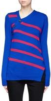 Proenza Schouler Asymmetric button stripe cashmere-cotton sweater