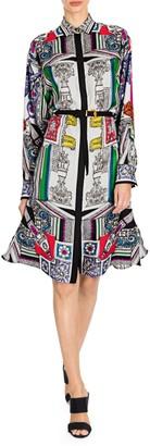Versace Temple Print Belted Shirtdress