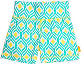 Turquoise Aqua Geo Organic Cotton Yoga Shorts - Toddler & Girls