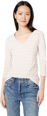 Daily Ritual Amazon Brand Women's Lived-in Cotton Slub 3/4-Sleeve V-Neck T-Shirt