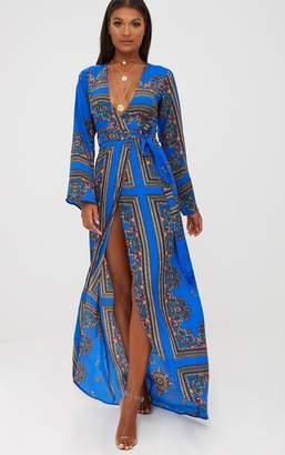 PrettyLittleThing Cobalt Print Satin Kimono Maxi Dress