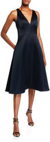 Aidan Mattox V-Neck Sleeveless Mikado A-Line Dress