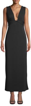 Nicole Miller Plunge-Neck Sleeveless Matte Jersey Gown