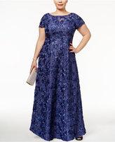 Alex Evenings Plus Size Rosette Lace A-Line Gown