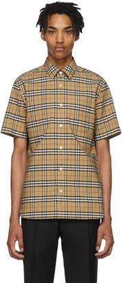 Burberry Beige Check George Short Sleeve Shirt