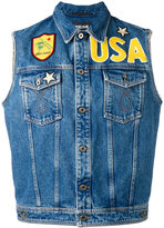 Just Cavalli patched denim gilet - men - Cotton/Polyester - 48