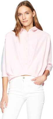 EVIDNT Women's Two Tone Button Down Cropped Blouse