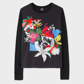 Paul Smith Women's Black Long-Sleeve T-Shirt With 'Photo-Floral' Print