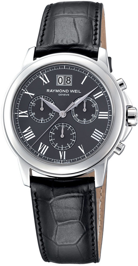 Raymond Weil Watch, Men's Chronograph Tradition Black Croc Embossed Leather Strap 4476-STC-00600