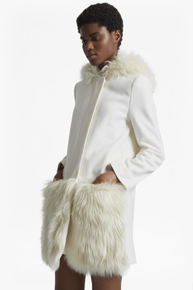 French Connection Platform Felt Fur Trim Coat