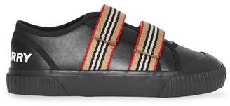 BURBERRY KIDS Stripe Trim Sneakers