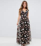 True Decadence Petite All Over Embroidered V Neck Maxi Dress