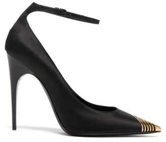 Saint Laurent Newton Metal-tip Satin Pumps - Black