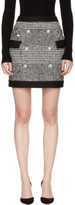 Balmain Black and White Houndstooth Six-button Miniskirt