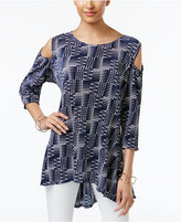 Alfani High-Low Cold-Shoulder Top, Only at Macy's