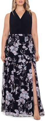 Xscape Evenings Floral Embroidery V-Neck Gown (Plus Size)