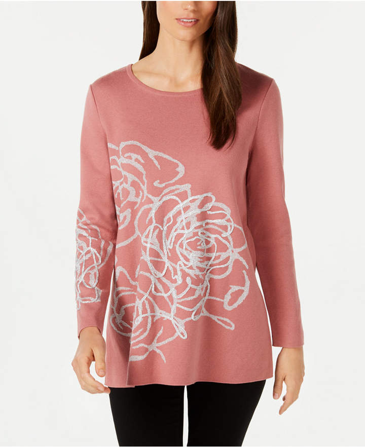 Petite Metallic Graphic Sweater