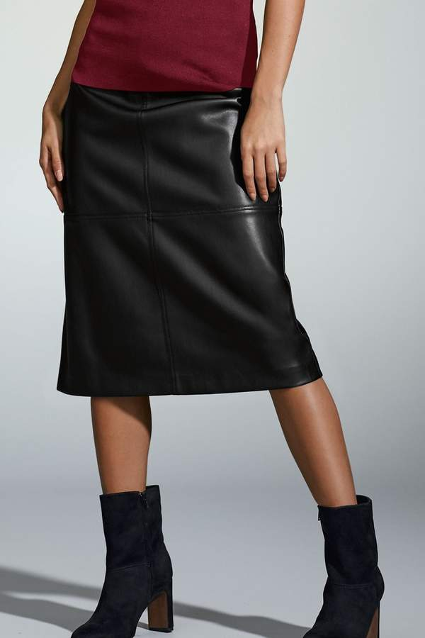 buy real more photos soft and light Womens Black Faux Leather A-Line Skirt - Black