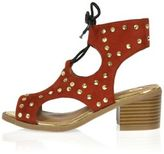 River Island Girls red ghillie studded shoes