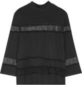 Raoul Perla chiffon and lace-trimmed stretch-jersey top