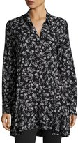 Neiman Marcus Floral Button-Front Tunic Blouse
