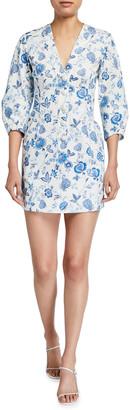 Derek Lam 10 Crosby Ottilie Floral Print 3/4-Sleeve Dress