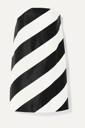 Saint Laurent Strapless Striped Silk And Wool-blend Mini Dress - Black