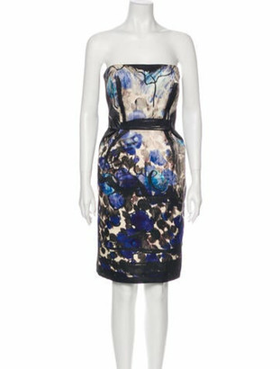 Lanvin Printed Mini Dress Blue