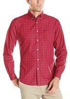 Dockers Long Sleeve Solid Shirt with Slight Grid Line Cvc Woven Shirt