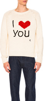 Raf Simons I Love You Sweater in White.