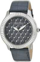 Invicta Women's 'Angel' Quartz Stainless Steel and Leather Casual Watch, Color:Grey (Model: 22565)
