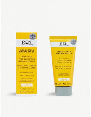REN Clean Screen Mineral SPF 30 mattifying face sunscreen 50ml
