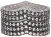 Freida Rothman Rhodium Plated Sterling Silver Contemporary Deco Stacking Rings - Set of 5 - Size 7