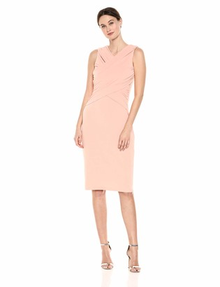 Maggy London Women's Solid Knit Sleeveless wrap Cocktail Sheath