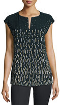 Lafayette 148 New York Joanie Short Dolman-Sleeve Metallic Blouse, Ink Multi
