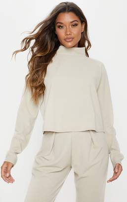 PrettyLittleThing Stone High Neck Long Sleeve Sweater