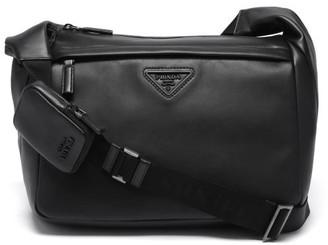 Prada Logo-plaque Leather Messenger Bag - Black