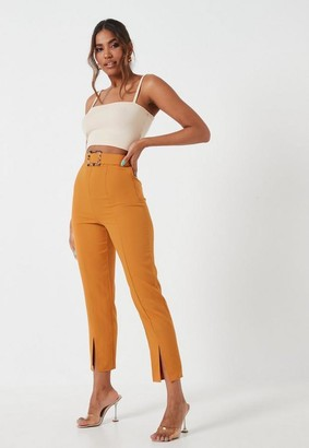 Missguided Rust Split Front Belted Cigarette Pants